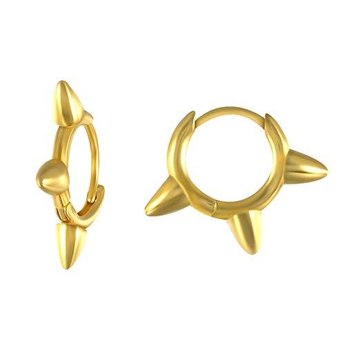 DFKE Geometric Bead Rivet Piercing Earrings For Women Round Cross Small Hoop Earrings Ear Jewelry (Gem Color : 1 gold)
