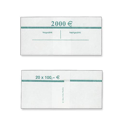 Banderolen für Euro Geldscheine je 50x (100 € Banderole) Geldbanderole Papier für Geldbündel Fassungsvermögen je 20 Scheine