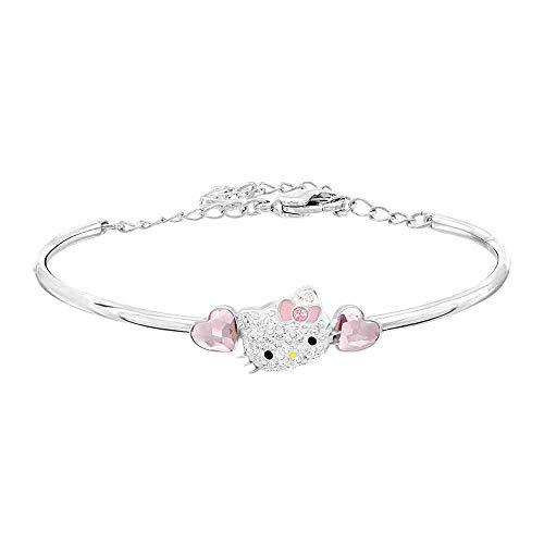 QKL Hello Kitty Gato Rosa Melocotón Corazón Cristal Amor Corazón Pulsera Mujer, Estilo De Moda