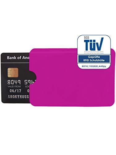 1x Schutzhülle RFID Blocker für NFC Kreditkarte EC Karte und Ausweis Datenschutz (Pink)