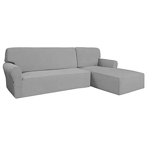 Easy-Going Stretch Sofa Slipcover 2 Pieces L-Shaped Sofa Cover Sectional Couch Cover for Living Room...