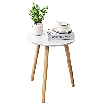 APICIZON Round Side Table White Nightstand Coffee End Table for Living Room Bedroom Small Spaces Easy Assembly Bedside Table with Natural Wood Legs 16.5 x 20.5 Inches