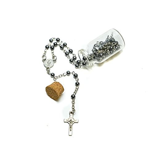 Rosario Religioso con Medalla Católica y Crucifijo, Collar Crucifijo para Hombre y Mujer, Collar de Rosario y Rosario Primera Comunion, Rosario Religioso Negro