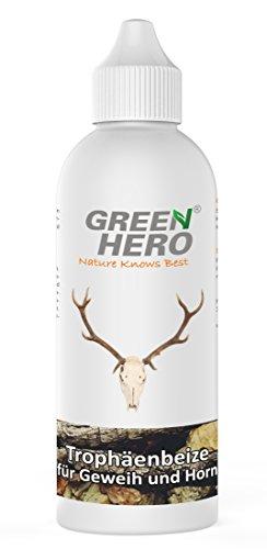 Green Hero Trophäenbeize zum auffrischen und Nachfärben von Geweih-Trophäen Aller Art Hirsch-Horn Beize für erhalt von natürliche Farben für Geweih und Horn Naturfarbkonzentrat 200ml