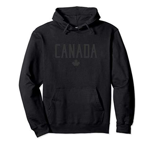 Canada Maple Leaf Vintage Text Black with Black Print Felpa con Cappuccio