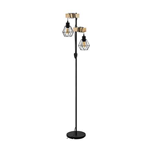 EGLO Stehlampe Townshend 5, 2 flammige Vintage Stehleuchte im Industrial Design, Retro Standleuchte aus Stahl und Holz, Farbe: Schwarz, braun, Fassung: E27, inkl. Schalter