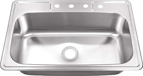 20 Gauge Single Bowl Sink 33 Drop in Stainless Steel Kitchen