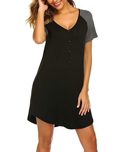 Ekouaer Womens Sleepwear Short Sleeve Nightgown Button Down Pajamas for Women Nightshirt S-XXL