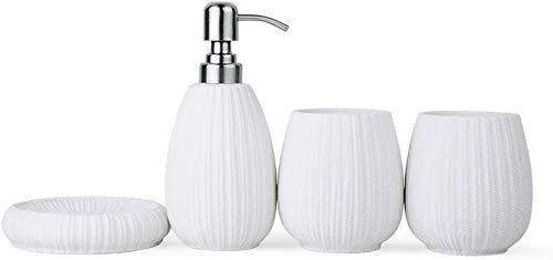 HLZY Dispensadores de jabón de encimera de baño, Dispensador de jabón Textura Tejida Baño nórdico Conjunto de Cuatro Piezas con emulsión de la Cabeza de la Bomba de Acero Inoxidable (Color : White)