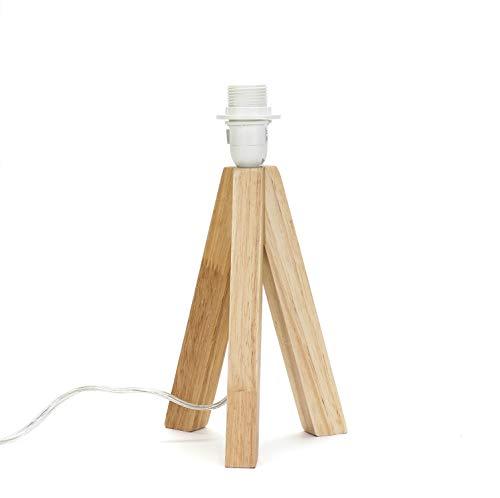 Treppiede in legno per lampada da tavolo 14 cm di altezza E14 con interruttore a cavo in legno a tre piedi