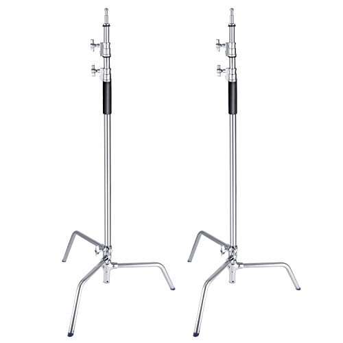 Neewer 2 Packs Stainless Steel Heavy Duty C-Stand, 5-10 feet/1.5-3 Meters Adjustable Photographic Sturdy Tripod for Reflectors, Softboxes, Monolights, Umbrellas
