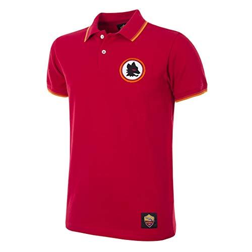 AS Roma Retro Poloshirt für Erwachsene, Unisex S Black/Red