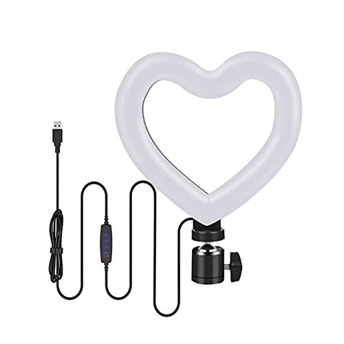Yagor Anel de luz regulável em forma de coração, anel de luz de LED tricolor de 15 cm com suporte, anel de luz para fotografia e vídeo ao vivo