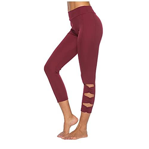 Damen Yoga Lange Leggings Slim Fit Fitnesshose Sporthosen Aushöhlen Hohe Taille Yogahose Sexy Hüftheben Push Up Fitnesss Sportleggings für Freizeit & Sport