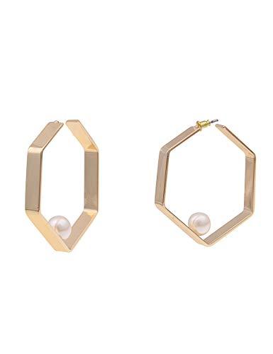 Leslii Damen-Ohrringe Creolen Sechseck weiße Perlen-Ohrringe goldene Modeschmuck-Ohrringe Ohrschmuck in Gold Weiß Glanz