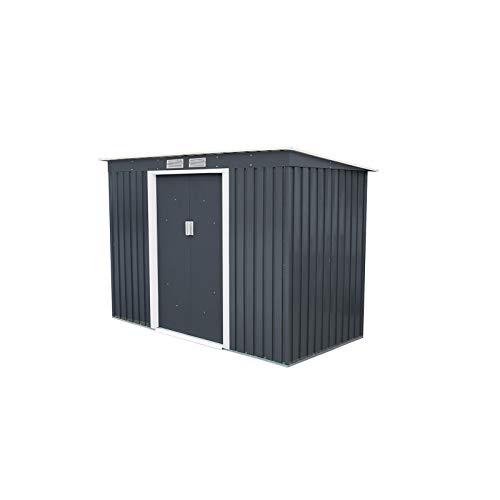 GARDIUN KIS12994 - Caseta Metálica Reading 3,16 m² Exterior 121x261x176 cm Acero Galvanizado Gris Antracita