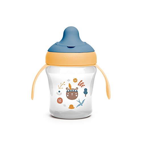Suavinex 401194 Bicchiere Per Bambini Con Beccuccio Rigido E Manici, Da 6 Mesi, Forest Colore Giallo - 200 ml - 990 g