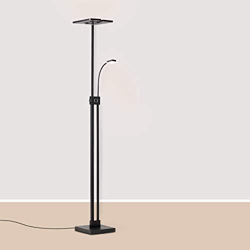 Lightbox Deckenfluter - Stehlampe LED dimmbar, mit Leselampe - 230cm - in der Höhe verstellbar -Warmweißes Licht - Metall/Kunststoff, schwarz