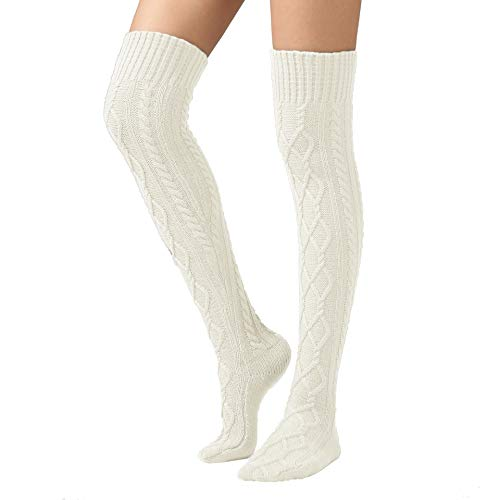 SherryDC Women s Cable Knit Boot Stockings Extra Long Thigh High Leg Warmers Winter Floor Socks White