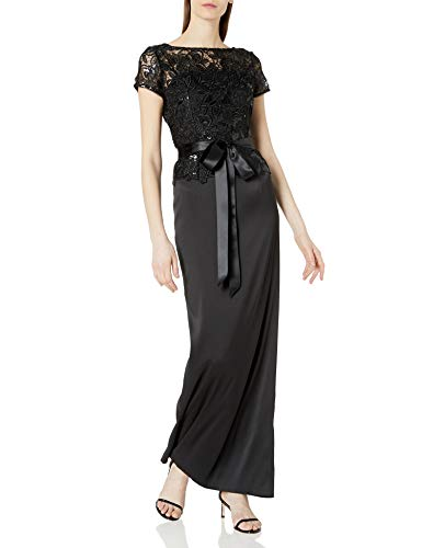 Adrianna Papell Women's Long Column Gown with Sequin Lace Bodice and Short Sleeves, Black, 4 (Apparel)