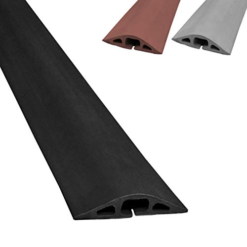 Electriduct D-2 Rubber Duct Cord Cover - 36 Inch (3 Feet) Black Floor Cable Protector