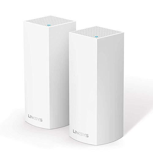Linksys Système Wi-Fi Mesh Multiroom Velop triple bande WHW0302 (Routeur Wi-Fi AC4400 / Extension Wi-Fi, Contrôle Parental, pack de 2, Portée de Signal jusqu'à 350 m2, Blanc)
