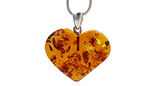 Ciondolo in ambra baltica a forma di cuore, colore cognac, in argento Sterling 925, con fiocco