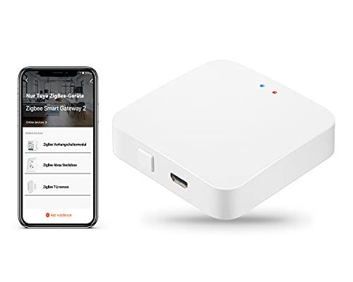 ZigBee Hub Tuya Gateway, TEEKAR Smart ZigBee Gateway Hub Compatible avec les appareils intelligents Tuya ZigBee 3.0, APP Télécommande Smart Home Hub pour la domotique - Connectez jusqu'à 55 appareils
