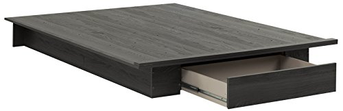 """South Shore 54""""/60'' Holland Platform Bed with drawer, Full/Queen, Gray Oak"""