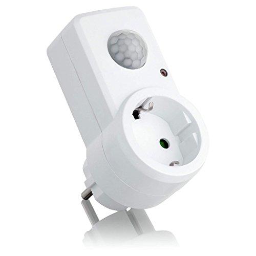 SEBSON Zwischenstecker mit PIR Bewegungsmelder, Sensor Steckdose programmierbar, max. 1200W Glühlampe, max. 300W LED, IP20