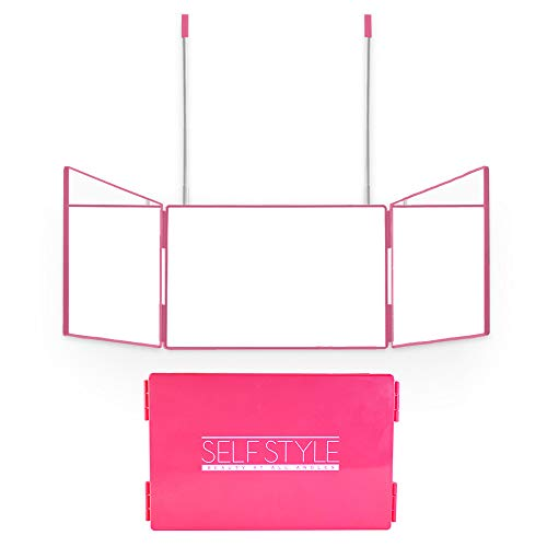 Self Style System Travel Size for Women (Pink) - 3 Way Mirror with Adjustable Height Brackets for Makeup, Hair Styling, Coloring, Cutting, and Grooming