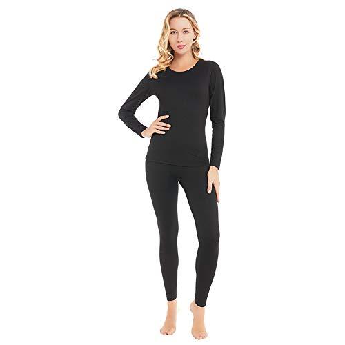 qingduomao Thermal Underwear for Women Ultra-Soft Long Johns Set Cotton Base Layer Winter Ski Warm Top & Bottom Black