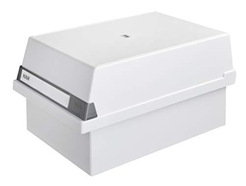 HAN Karteikasten A5 955-11 für 1.300 Karten, quer – Karteikartenbox in Lichtgrau mit großem Schriftfeld & inkl. 2 Stützplatten - simpel Ordnung halten