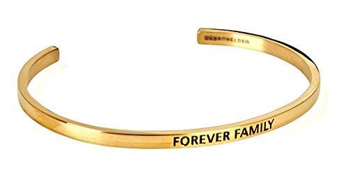 URBANHELDEN - Armreif mit Gravur - Damen Schmuck Inspiration Familie - Verstellbar, Edelstahl - Armband mit Spruch