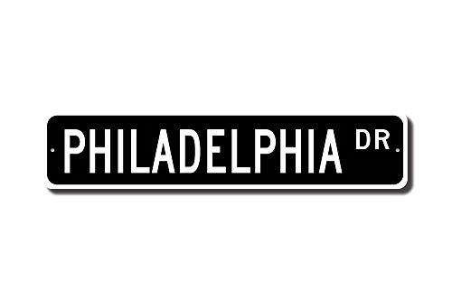 qidushop Philadelphia Sign Philadelphia Cadeau Philadelphia Visiteur USA Philadelphia natif Plaque de Rue en métal Signes pour Femme Fantaisie Étain Pancarte Intérieur ou extérieur