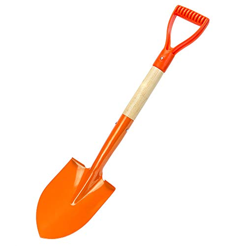 Zoom.LZ Garden Shovel D Handle Grip Shovel Spade for Digging 27.5 inch - Strong Build Wooden Short Handle Garden Spade Shovel Camp Shovel