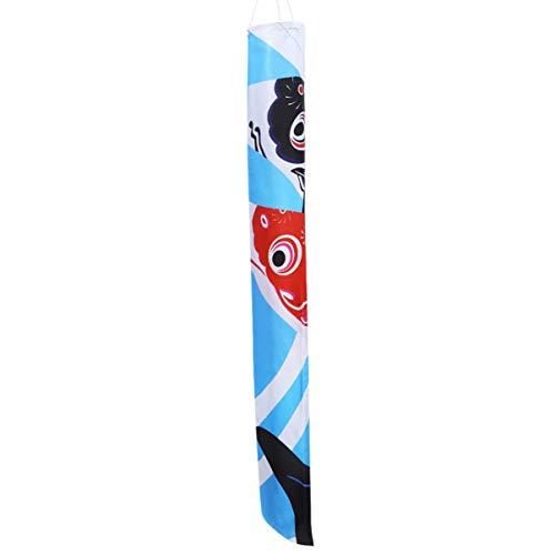 Hemoton Japanische Windsack Fisch Wind Streamer Fisch Flagge für Garten Hinterhof Wandbehang Dekoration 140Cm