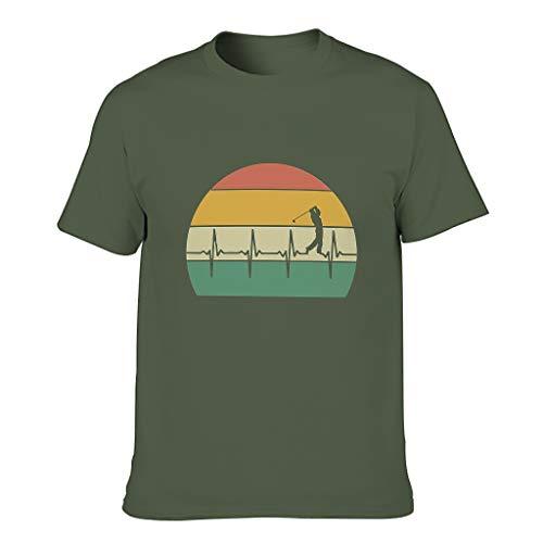 Herren Golf-T-Shirt mit Herzschlag-Motiv, Baumwolle Gr. XXL, armee-grün