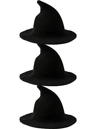 Cotiny 3 Pack Halloween Witch Hat Kinitted Wool Witch Hat Wizard Hat for Women Large Brim Crochet Cap for Halloween Party Cosplay Costume Accessory (Color Set 1)