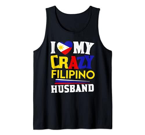 I love my crazy Filipino husband Philippines pride map flag Tank Top