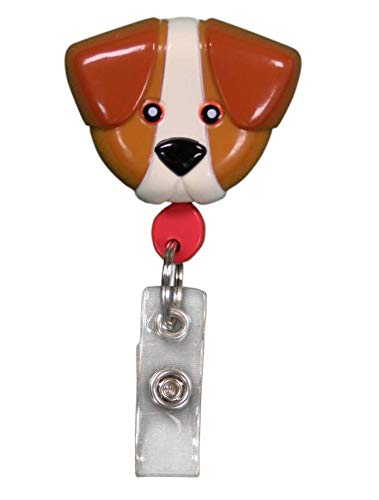Best ID Badge Retractable Custom Animal Shape with Clip and Reel-Plastic, Key Ring and Plastic Clip for Men, Women, Doctors, Nurses, Kids Clip to Belt, Pants, Keychain, Pocket (Brown Dog)
