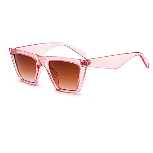 YOJUED Gafas de sol retro con ojo de gato, unisex, vintage, con marco cuadrado, protección UV 400, Rosa Rahmen / Braune Linse,