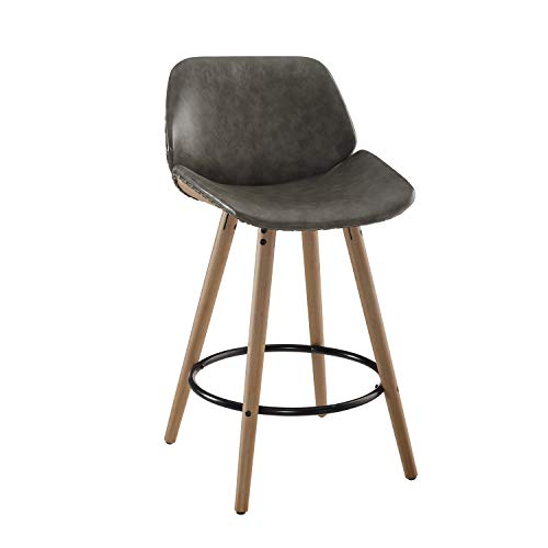 Voalns 26 Inch Mid Century Leather Upholstered Counter Height Bar Stool with Back, Accent Wooden Barstool with Metal Round Footrest, Grey(1 PCS)