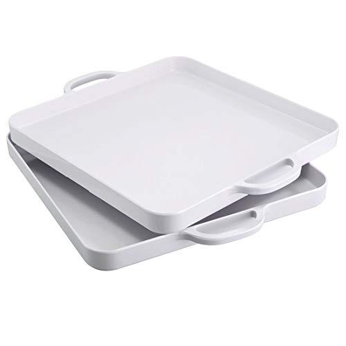 i BKGOO Bandeja de plástico blanco para servicio de alimentos con asa, juego de 2 bandejas grandes de melamina para servir en forma de cubo para fiestas, mesa, cocina, tamaño 31,7 x 31,7x2,8 c