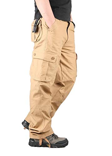 EnergyMen Cargo Pants Straight-Fit Outwear Long Pants Wide Leg Pants Khaki 38