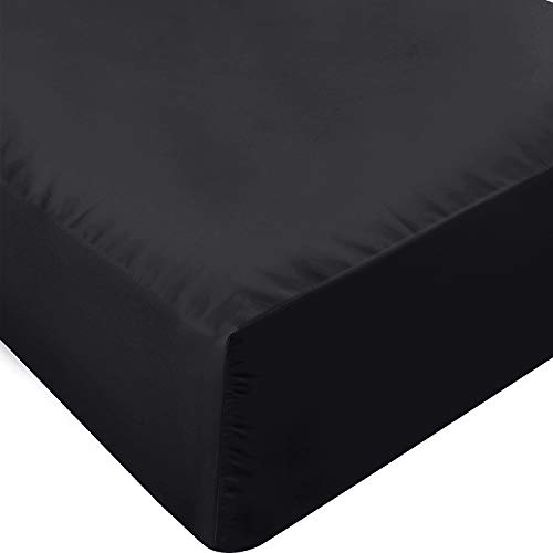 Utopia Bedding Fitted Sheet - Soft Brushed Microfiber - Deep Pockets, Wrinkle, Shrinkage and Fade Resistant - Easy Care - 1 Fitted Sheet Only (Twin, Black)