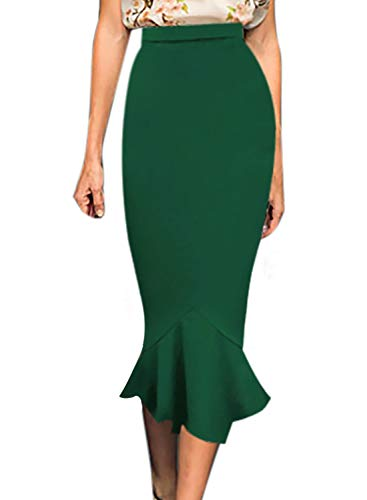 VFSHOW Womens Vintage High Waist Work Business Mermaid Midi Pencil Skirt 1391 GRN S Green