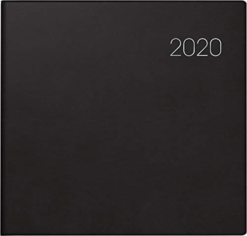 BRUNNEN 107666090 Buchkalender Quadratkalender groß Modell 766 (2 Seiten = 1 Woche, 210 x 205 mm, Balacron-Einband, Kalendarium 2020) schwarz