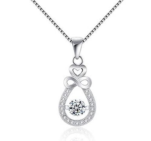 GYUFU Collar de Regalo para Mujer Collar de Plata Esterlina S925, Colgante, Cadena de Clavícula de Joyería de Plata Y Diamantes Femeninos Simples,blanco, Plata 925