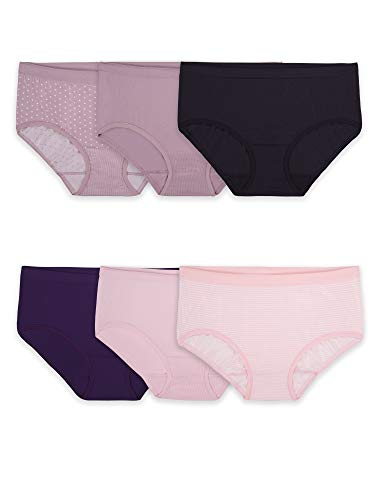 Fruit of the Loom Women's Seamless Panties, Low Rise Brief-6 Pack-Assorted Colors, 9